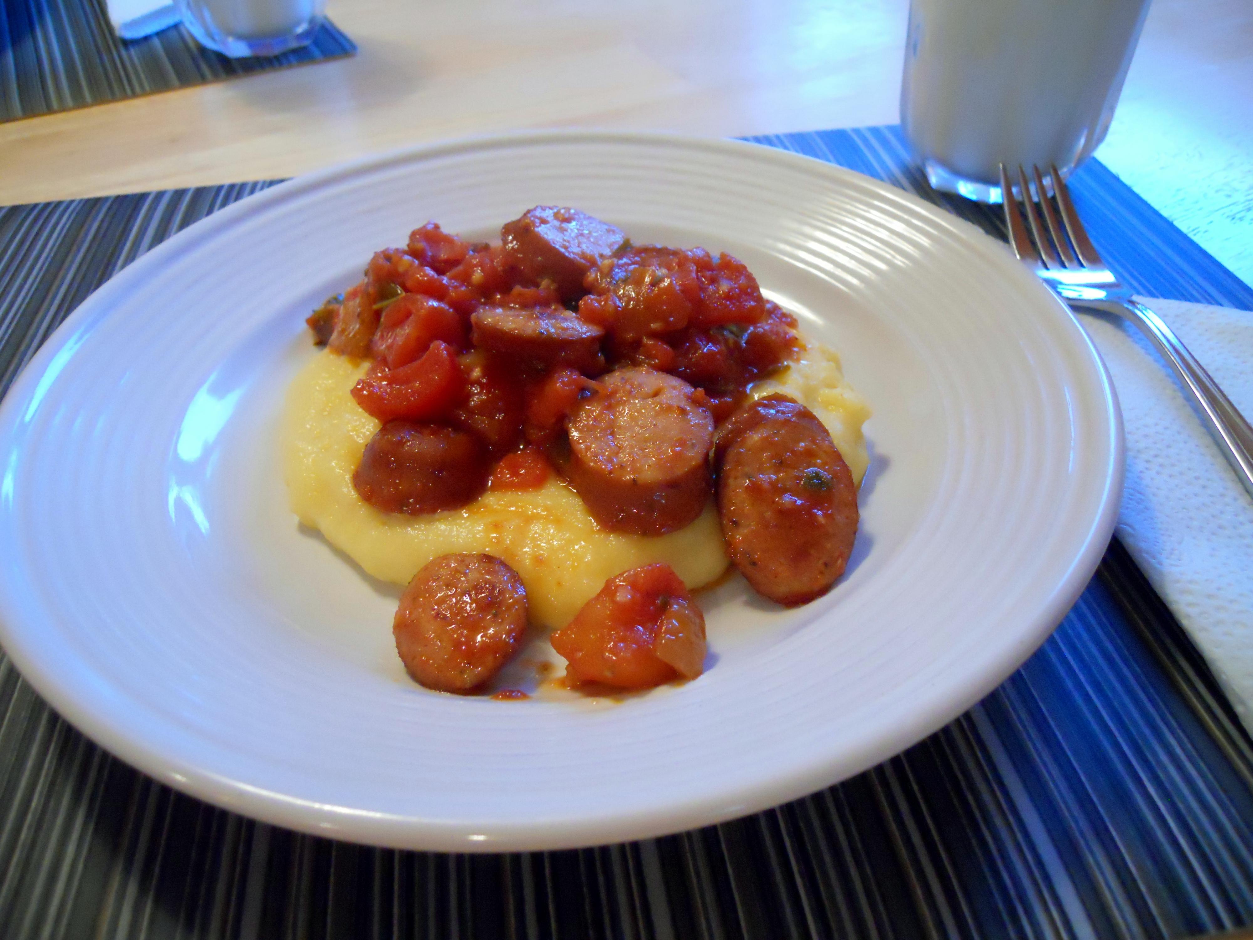 Parm Polenta with Spicy Sausage Sauce