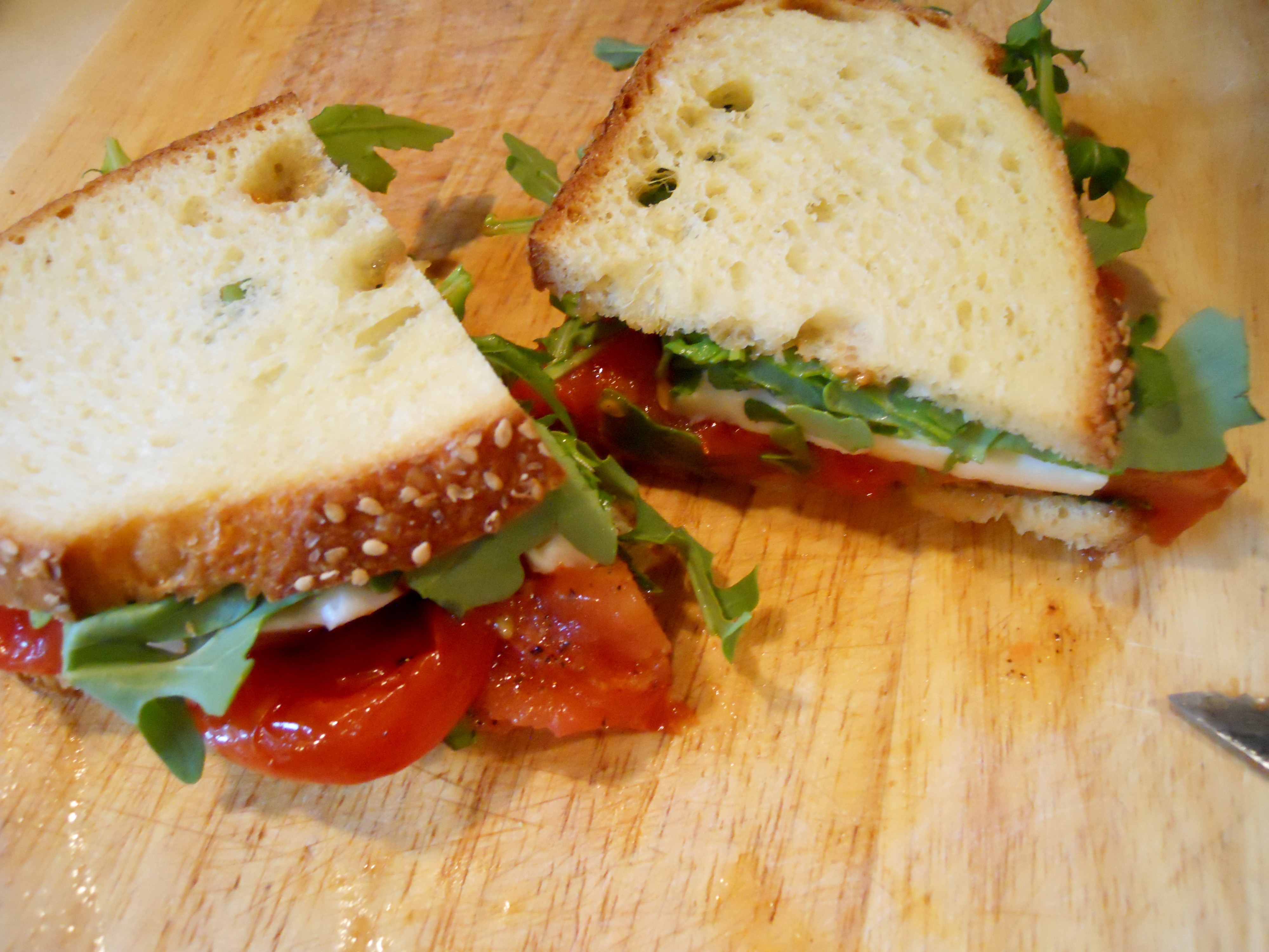 check freshly pressed or pressed mozzarella and tomato sandwich ...